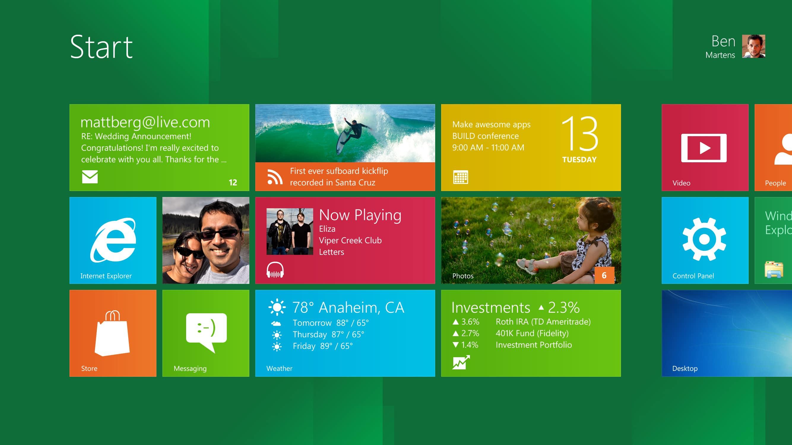 Windows 8 - Скриншот начальной страницы