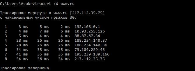Трассировка маршрута с использованием параметра /d