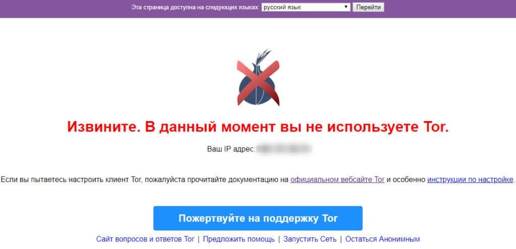 Страница сайта, если сеть Tor не используется