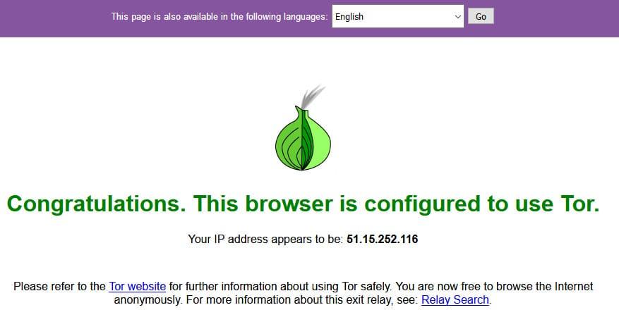 Удачная проверка Tor браузера