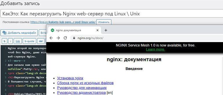Как перезагрузить сервер Nginx